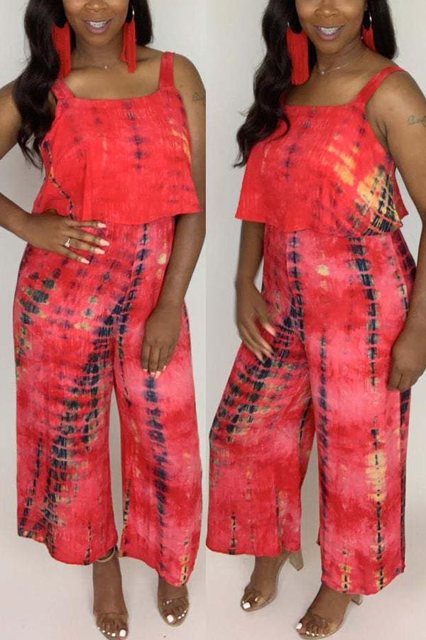Suspender Tie-Dyed Wide-Legged Jumpsuit