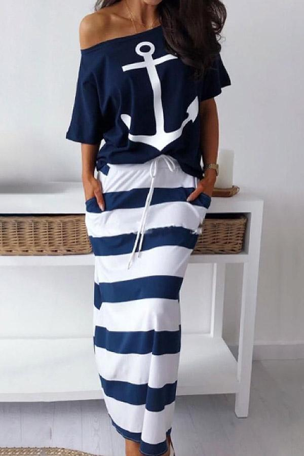 Printed Short-Sleeved T-Shirt Half-Length Skirt Suit