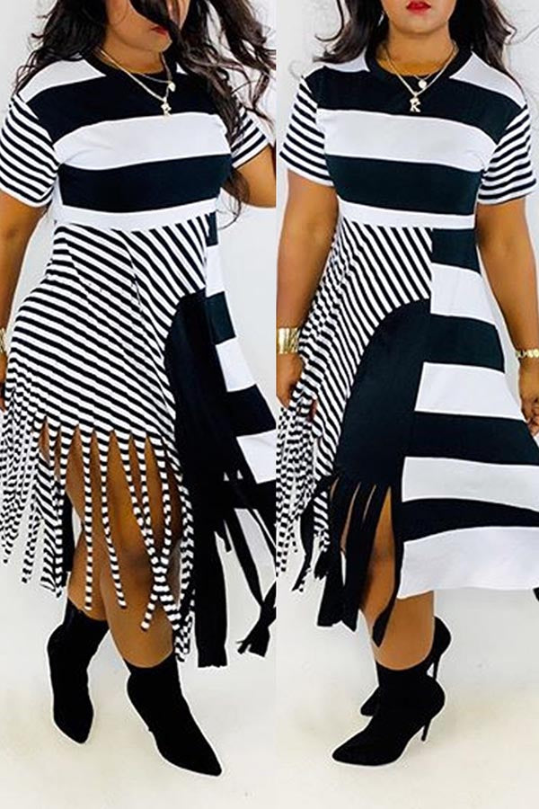 Irregular Stripe Prinht Fringed Dress