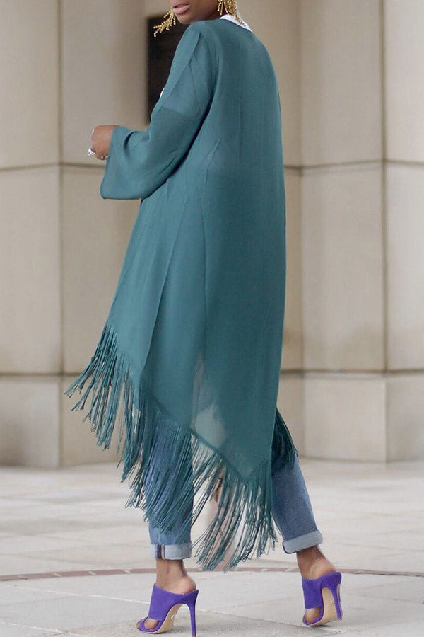 Solid Color Fringed Long-Sleeved Shrug