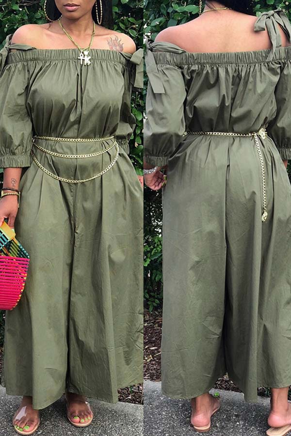 Solid Colour Off Shoulder Lace-Up Jumpsuit