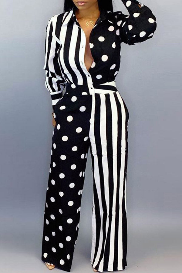Point Stripes Long-Sleeved Jumpsuit