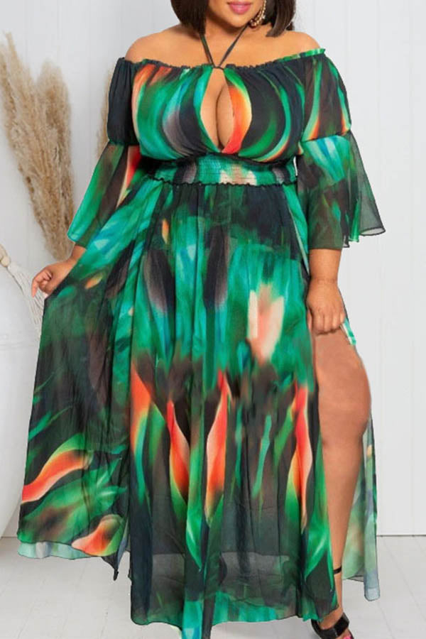 Printed Off Shoulder Split Dress