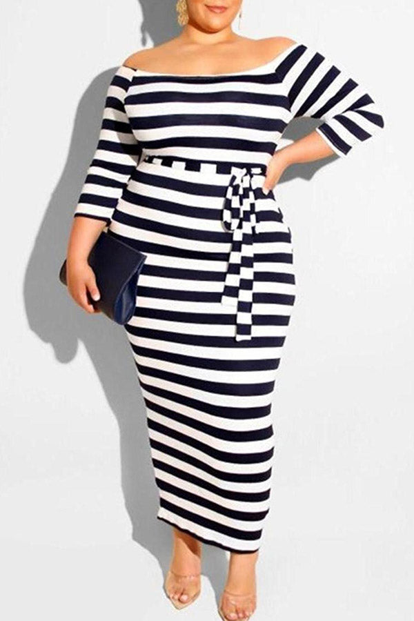 Off Shoulder Striped Long Large-Size Dress