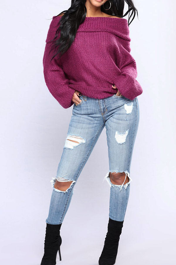 Long Sleeve Off Shoulder Loose Sweater