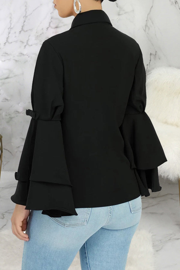 Ruffle Sleeve Solid Color Shirt