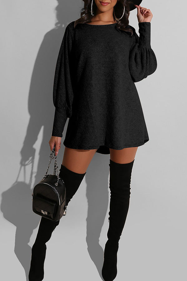 Round Neck Loose Lantern Sleeve Dress
