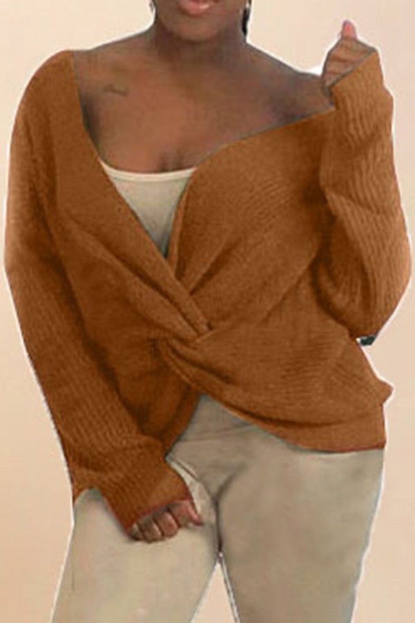 Twist Long Sleeve Knitted Pullover Top