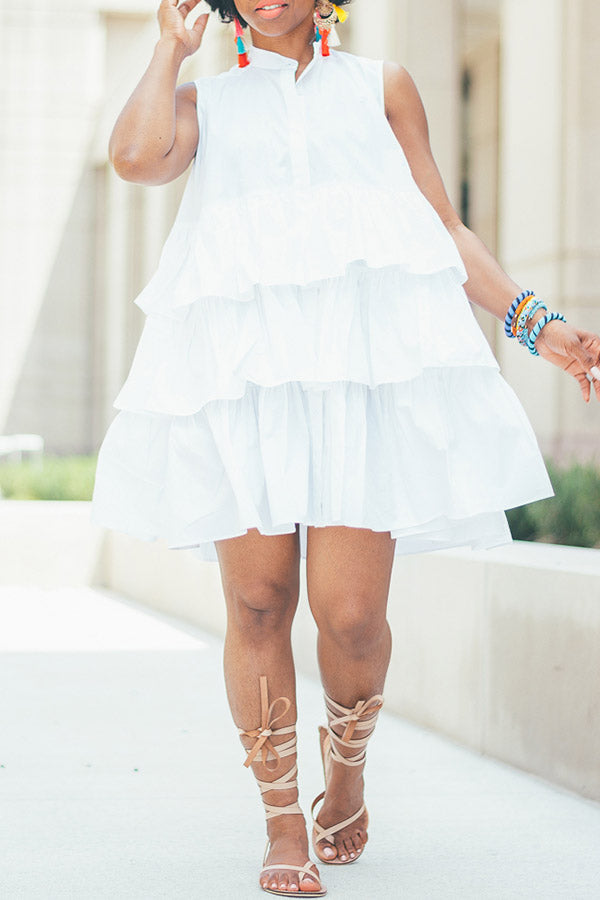 Solid Color Multi-Layer Pleated Shirt Dress