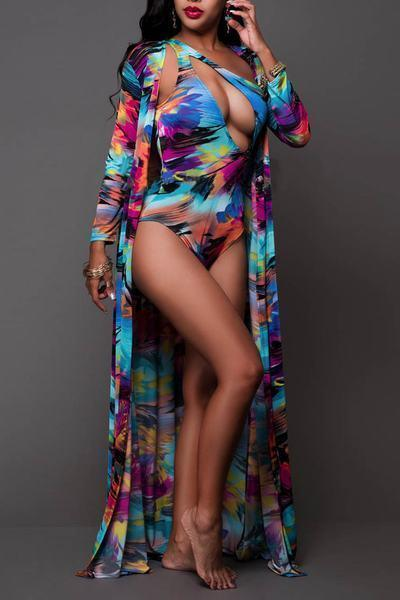 Beach Robe Cover Up Kaftan & Off Shoulder Print Swimsuit