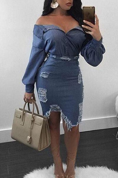 Distressed Off Shoulder Long Sleeve Multi-Lengths Dress