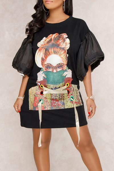 Graphic Print Round Neck Bell Sleeve Short Dress