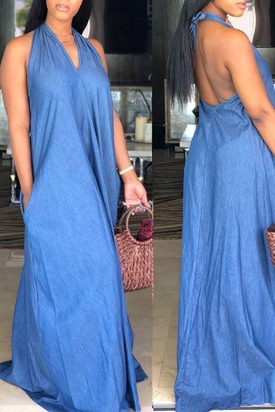 Plain Halter Neck Sleeveless Long Dress