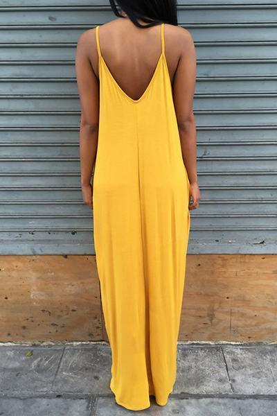 Plain Scoop Neck Sleeveless Long Dress