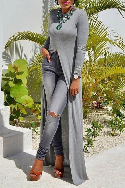 Plain Round Neck Long Sleeve Long Tunic