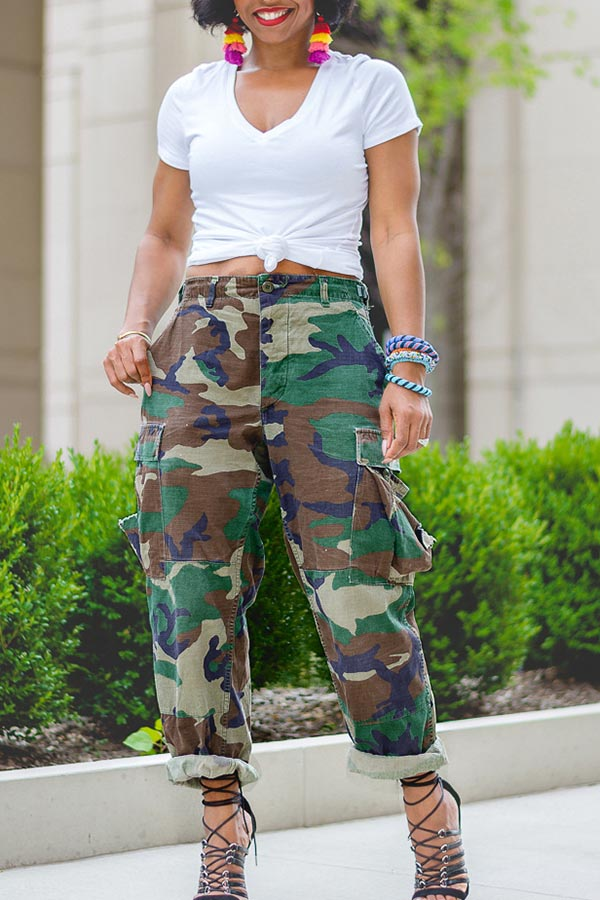 Casual Pocket Camouflage Pants