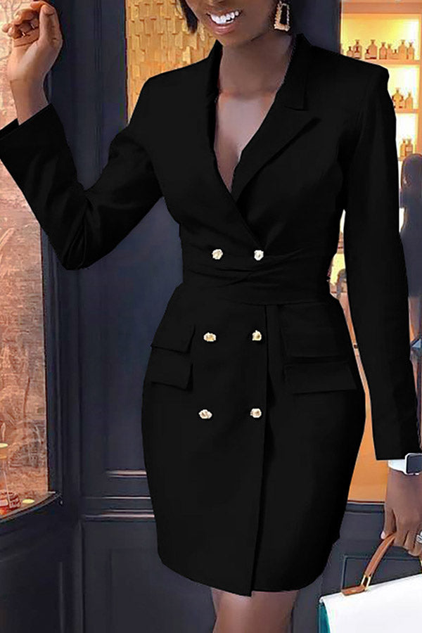 High Waist Blazer Dress