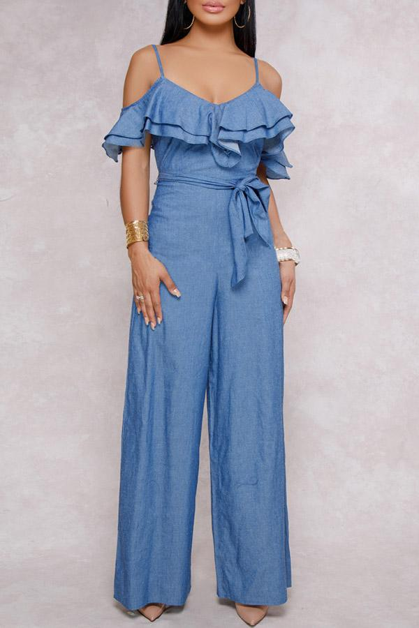 Blue Ruffled Jumpsuit