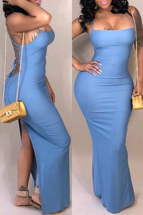 Tie Up Back Dress