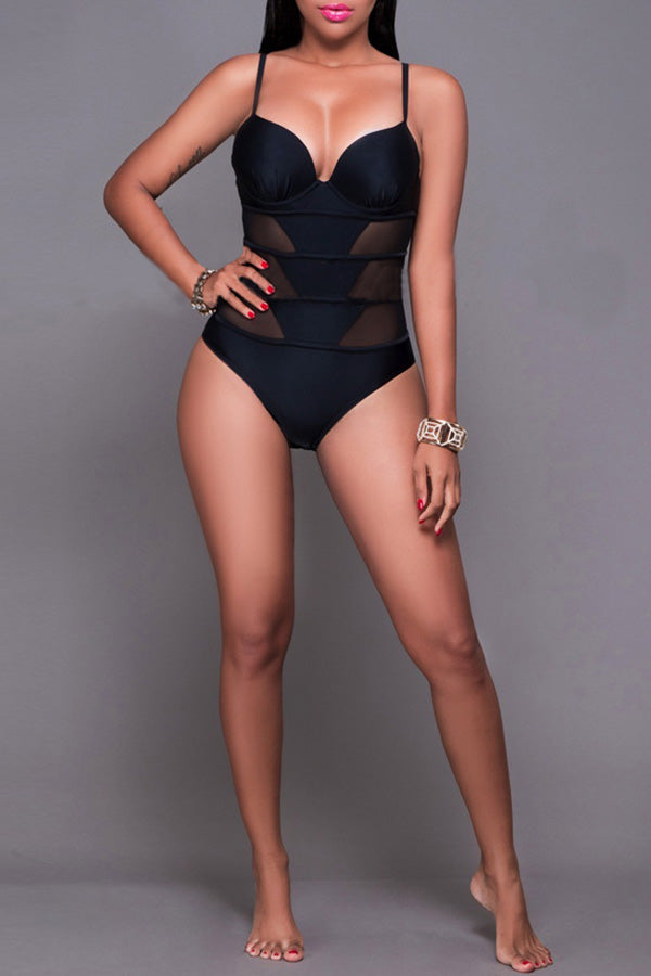 Mesh Splice Sling Swimsuit