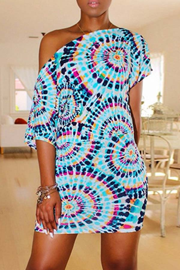 Slash Neck Tie Dye Dress