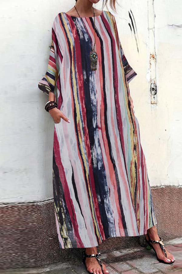 Printed Loose Seven-Sleeve Dress