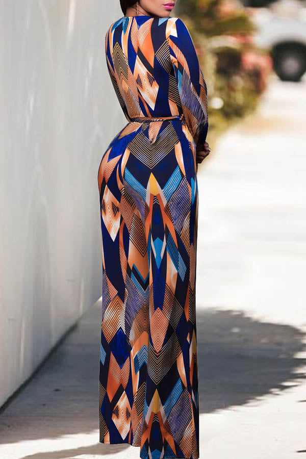 Printed V-Collar Strappy Jumpsuit