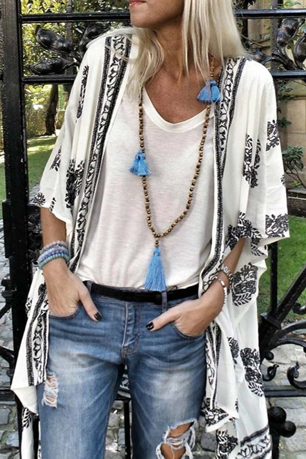 Printed Half Sleeve Cardigan Coat