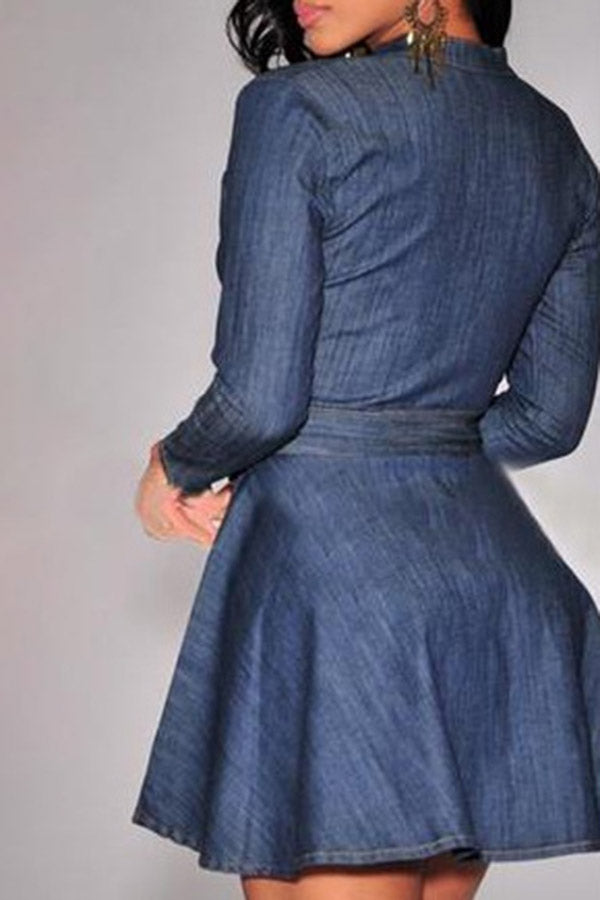 Long-Sleeve Pleated Lace-Up Dress