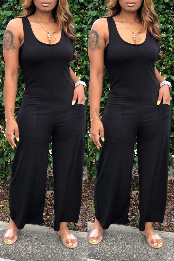 Sleeveless Solid Colour Round Neck Jumpsuit
