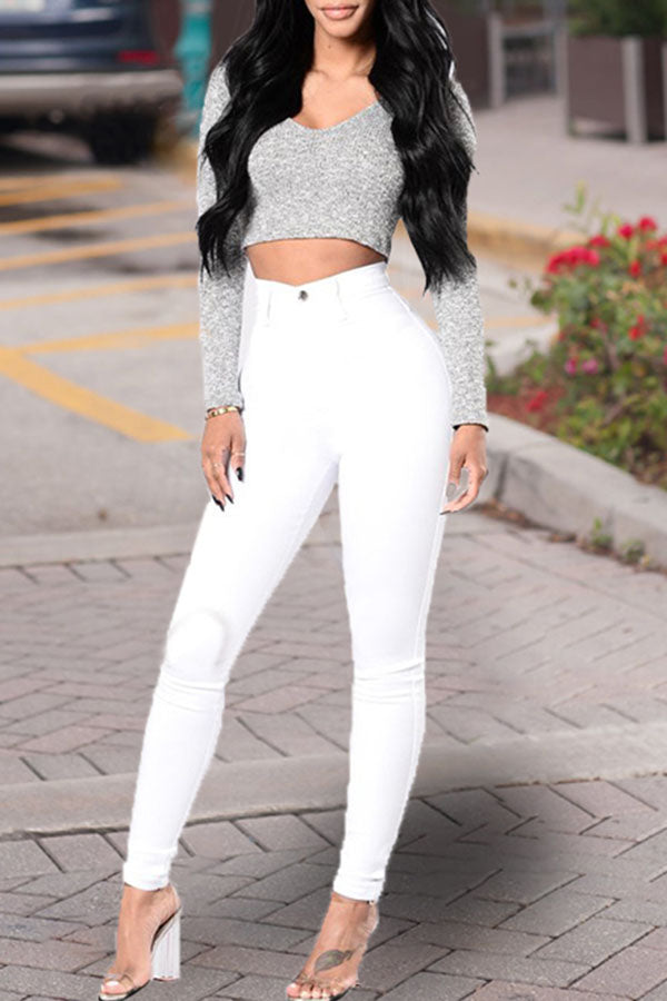 Solid Color High Waist Wash Jeans