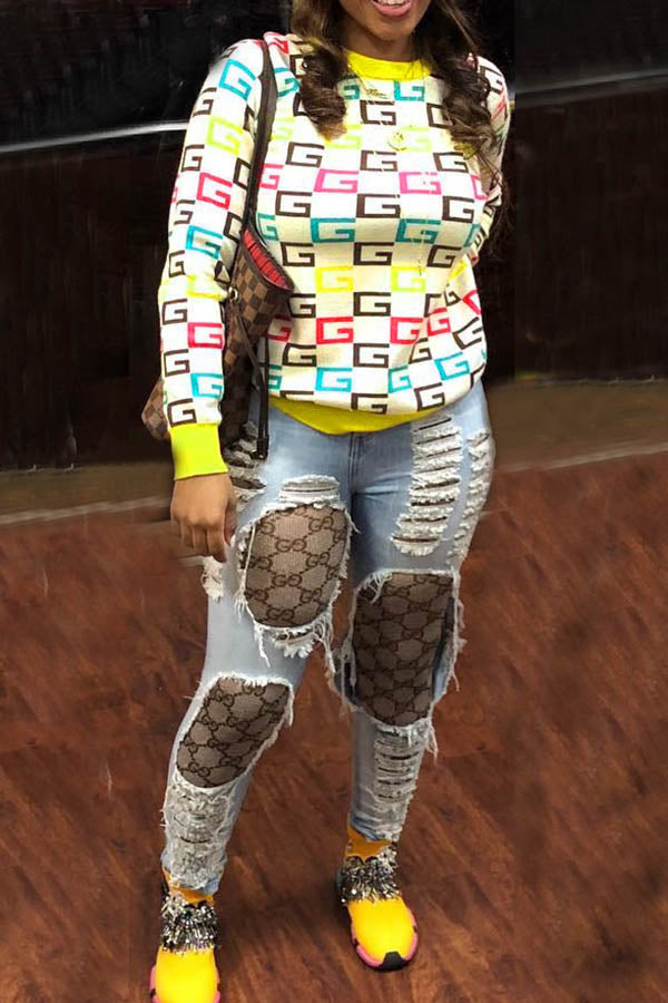 Printed Plaid Sweater
