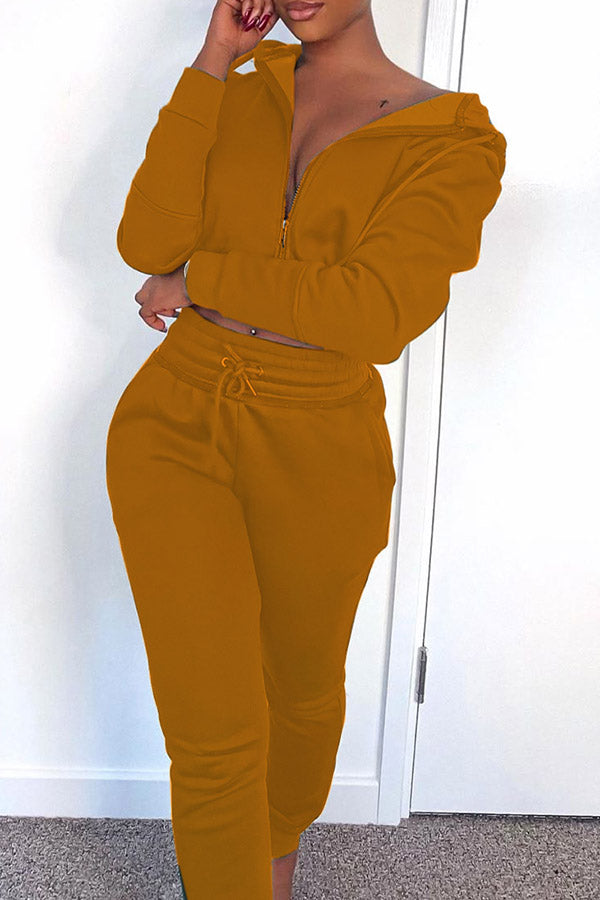Solid Color Hood Two Piece Set