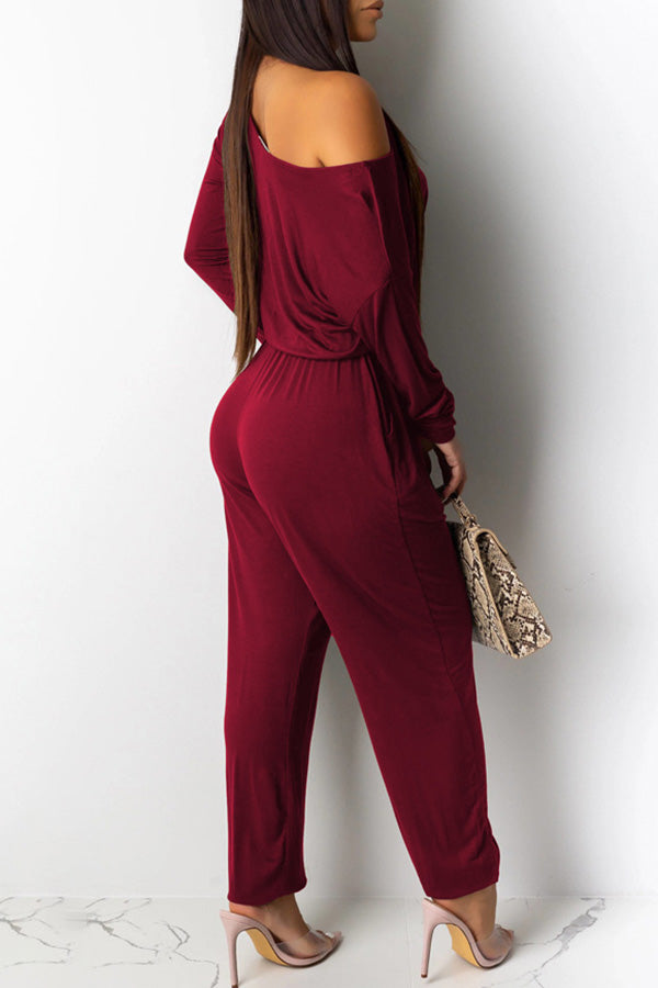 Loose Solid Color Off shoulder Jumpsuit
