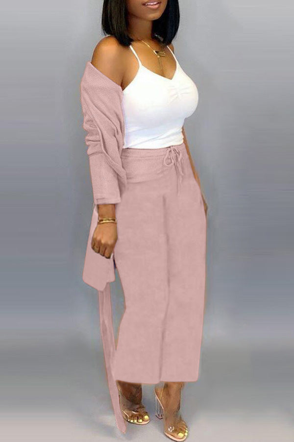Solid Colour Knitted Cardigan Trousers Two-Piece Suit