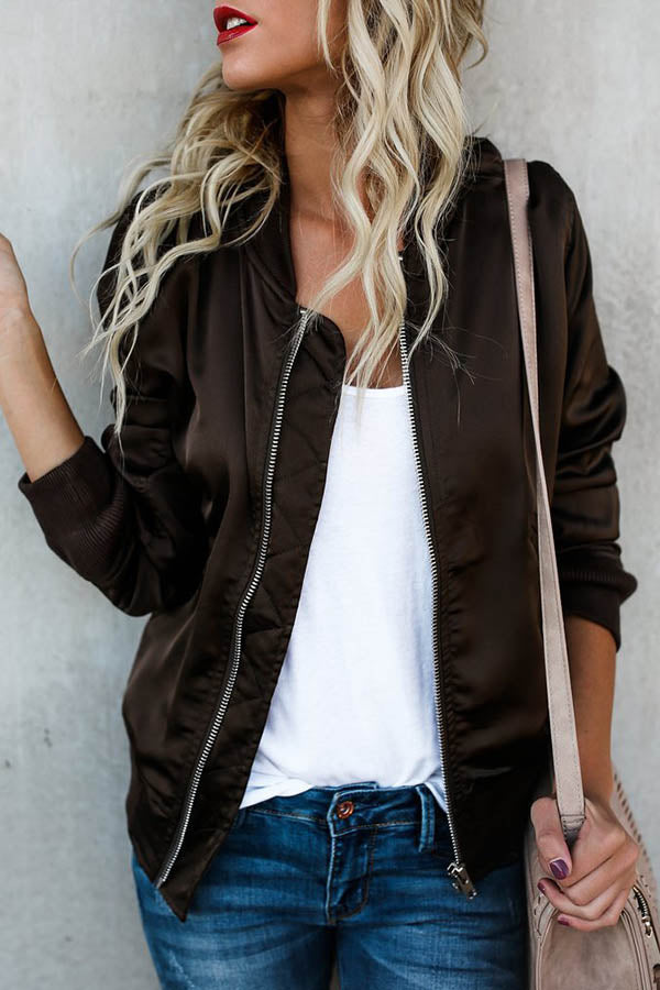 Solid Color Zipper Jacket