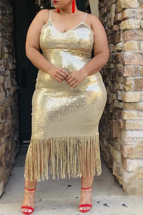 Solid Color Fringed Sling Dress