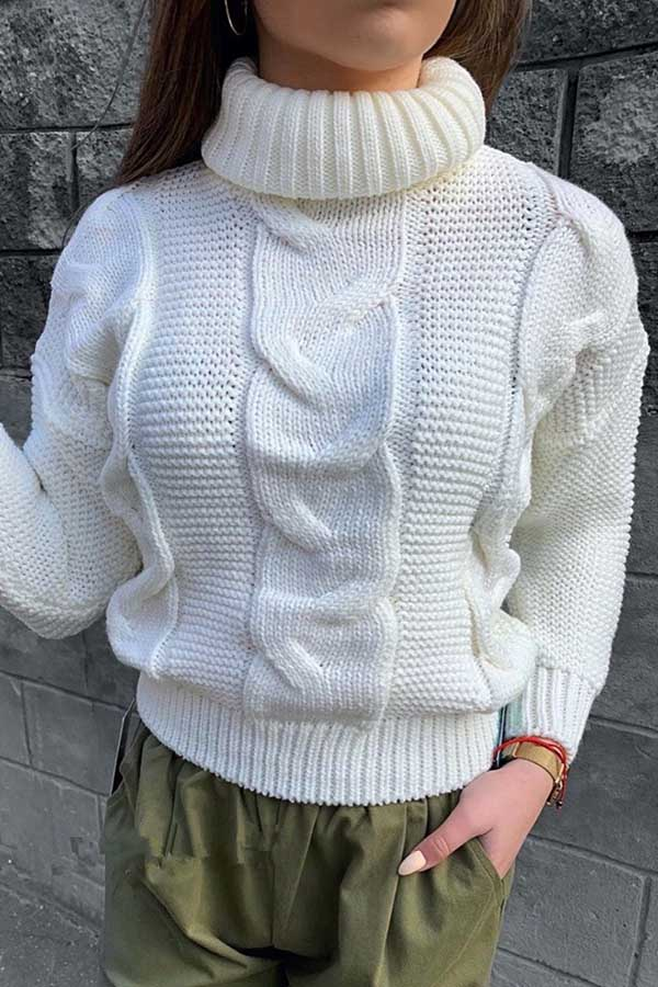 High Collar Twist Sweater