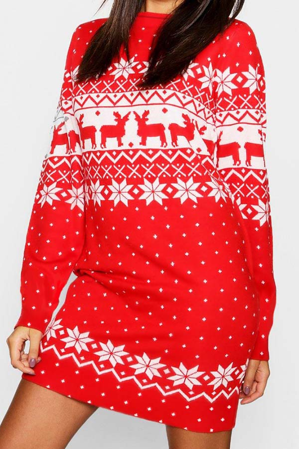 Christmas Print Long Sleeve Sweater