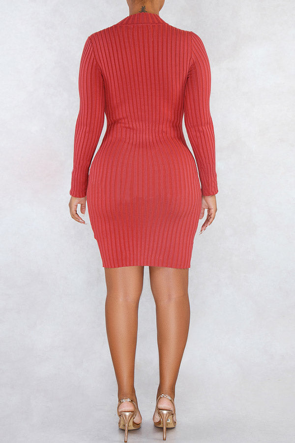 Solid Color Slim Single Breasted Asymmetric Dress