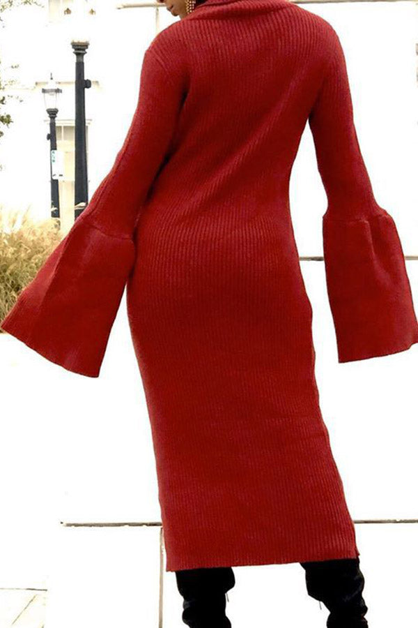 Solid Color High Neck Flare Sleeve Dress