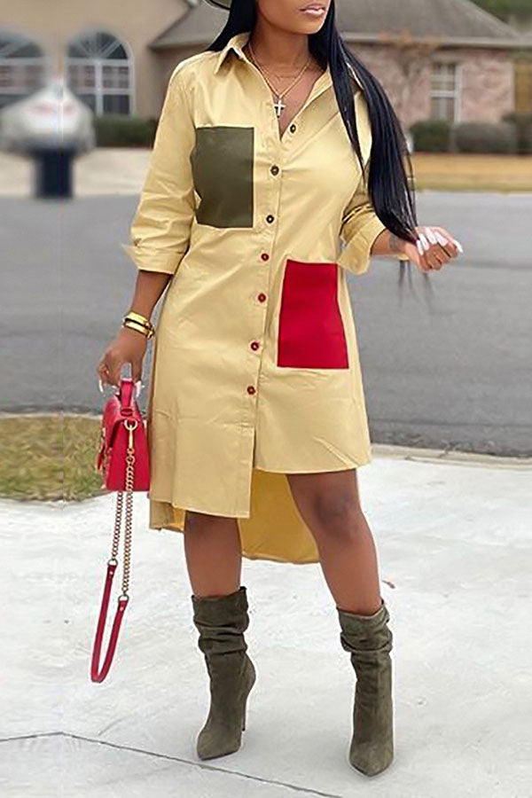 Pocket Long Sleeve Irregular Shirt Dress