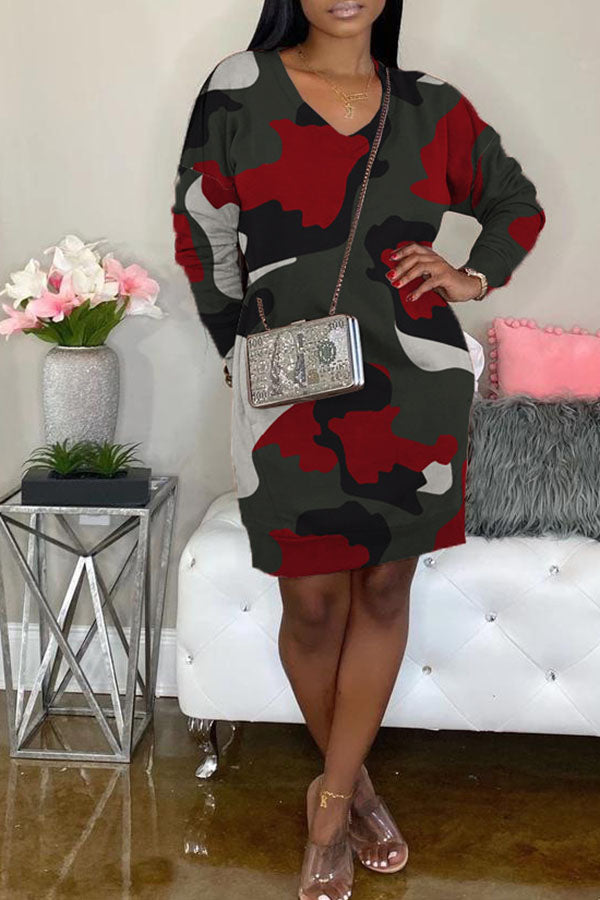 Camouflage Print Pocket Loose Dress