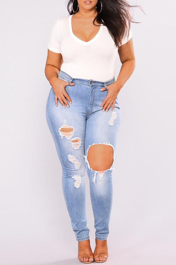 Ripped Knee Plus Jeans
