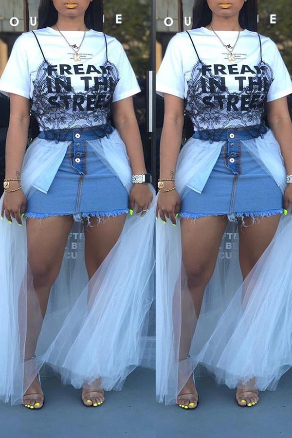 Splicing Half-length Both Front And Back Denim Skirt