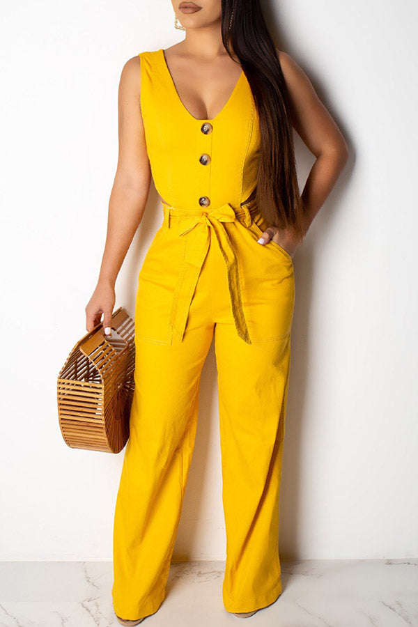 Soild Color Button Lace-up Jumpsuit
