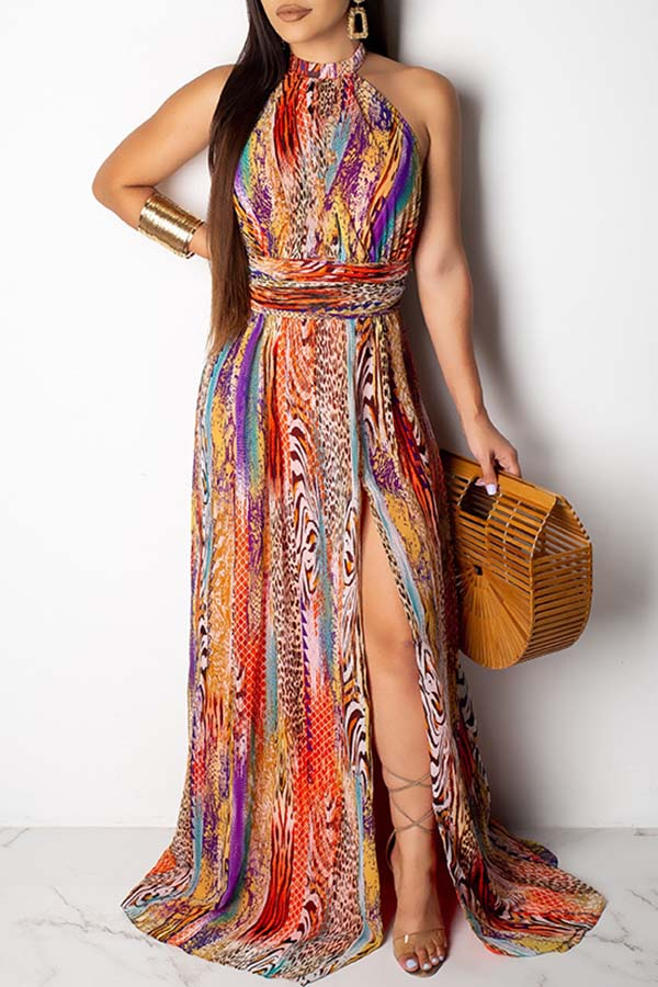 Tie-Dyed Sleeveless High Open-Forked Dress