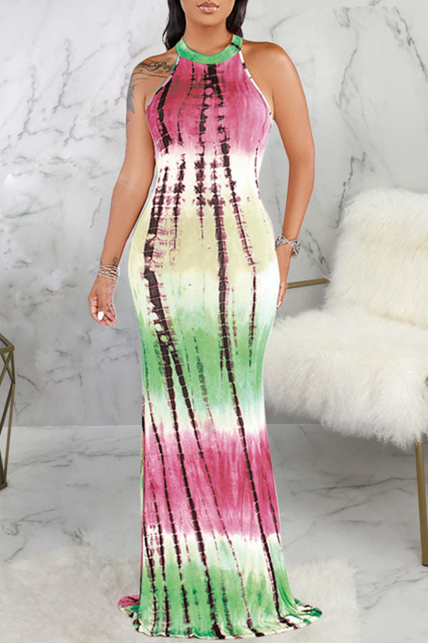Digital Printing Halter Slim Dress