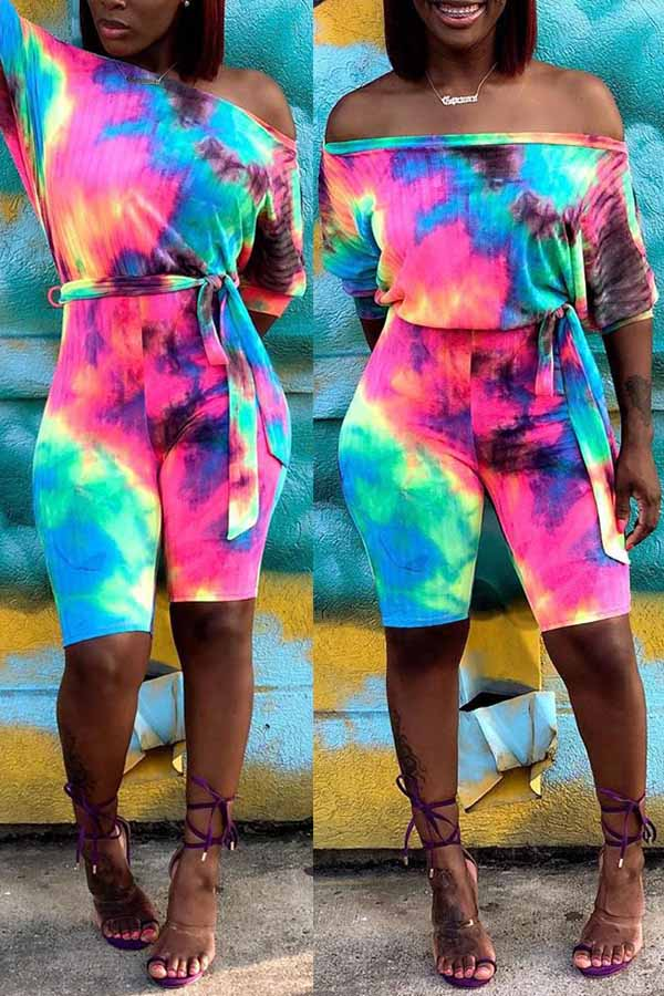Colorful Off Shoulder Bat Sleeve Jumpsuit