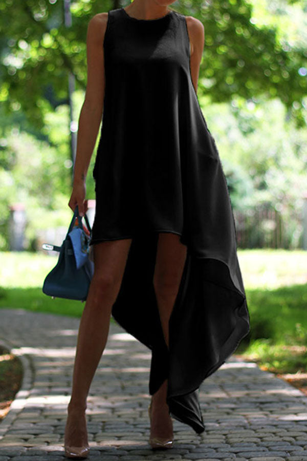 Sleeveless Irregular Hem Large Dress